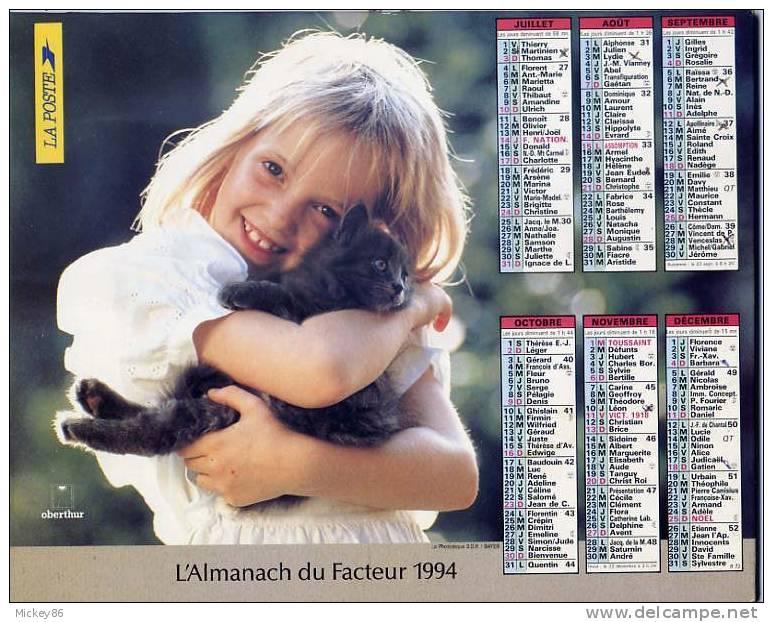 ALMANACH DU FACTEUR 1994  Dépt 86-ENFANTS- ENFANT Et CHAT - Calendriers