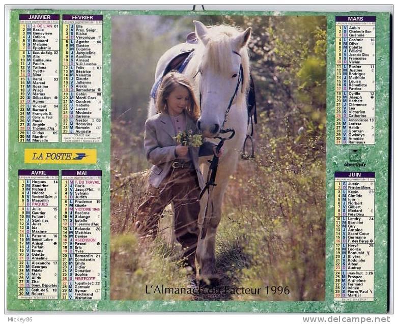 L´almanach Du Facteur  1996  Dépt 86- ENFANTS ET ANIMAUX ( Cheval Et Chèvre) - Grand Format : 1991-00