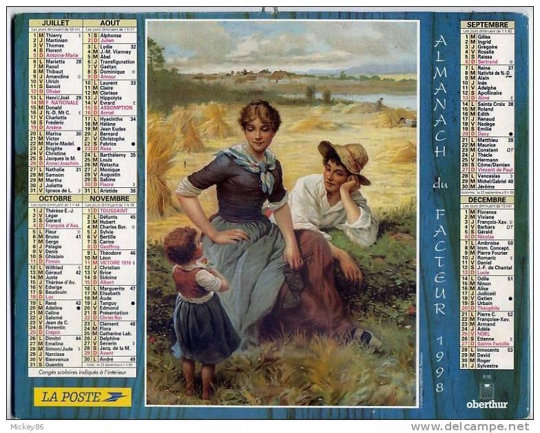 L´almanach Du Facteur--1998--dépt 86-Scène De Vie Paysanne Avec Vache Et Brouette-scène De Moisson Avec Enfant--dessins- - Calendriers