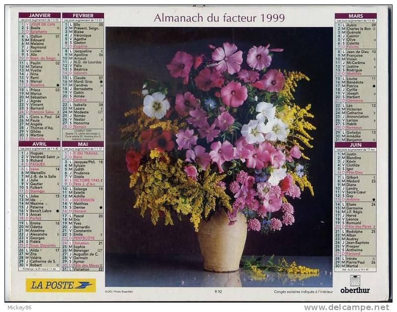 L´almanach Du Facteur  1999  Dépt 86-  Fleurs  En Vase - Calendriers