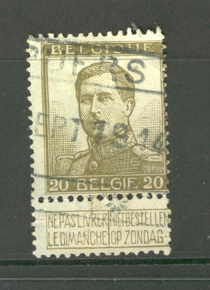 PELLENS 20c. Obl.Chemin De Fer PUERS SEPT 1914  NON ENVAHI  --  094 - Invasion