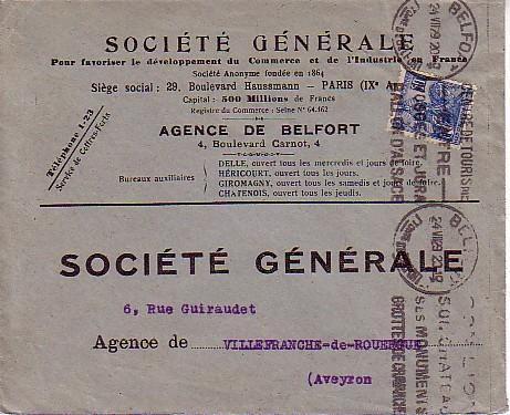 KRAG A EN-TETE DE BELFORT POUR VILLEFRANCHE DE ROUERGUE DATEE DU 24 JUILLET 1929 AVEC TIMBRE POSTE  N° 257 - Poststempel (Briefe)