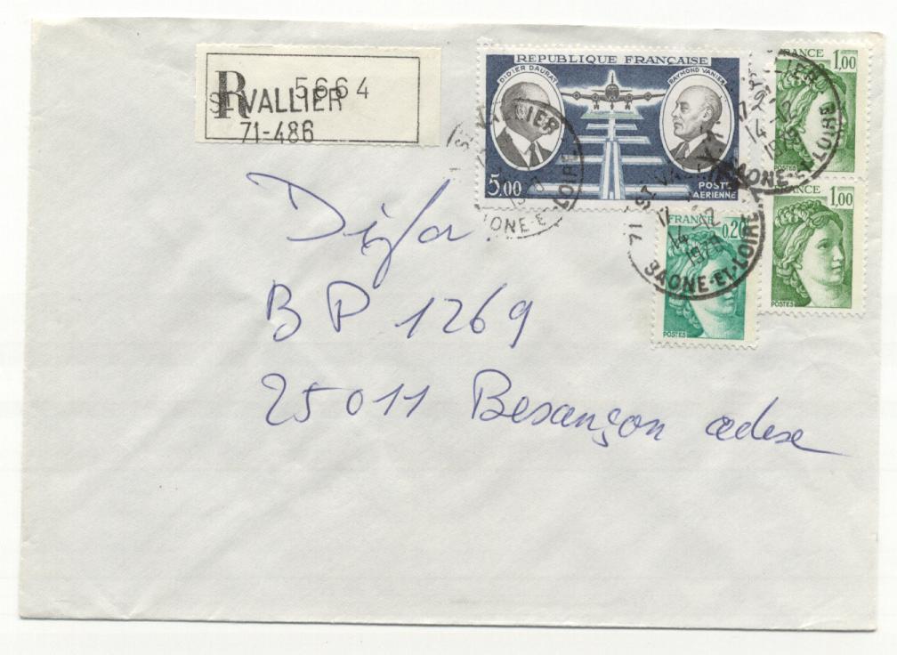 Recommandé  Saint Vallier Saône Et Loire 14/12/1978 - Marcophilie (Lettres)