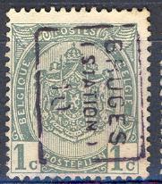 Ax601:N° 1432-tab: BRUGES(STATION) 10 [B]: - Roller Precancels 1910-19