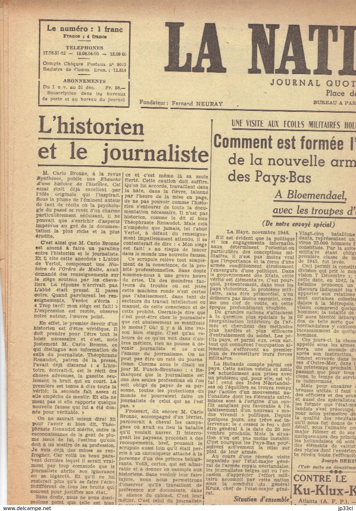 NATION BELGE 12/11/1946 MRP Bloemendael Grand Duché De Luxembourg Alfred Loritz Salazar Parc Duden Union Gérardin - Journaux - Quotidiens