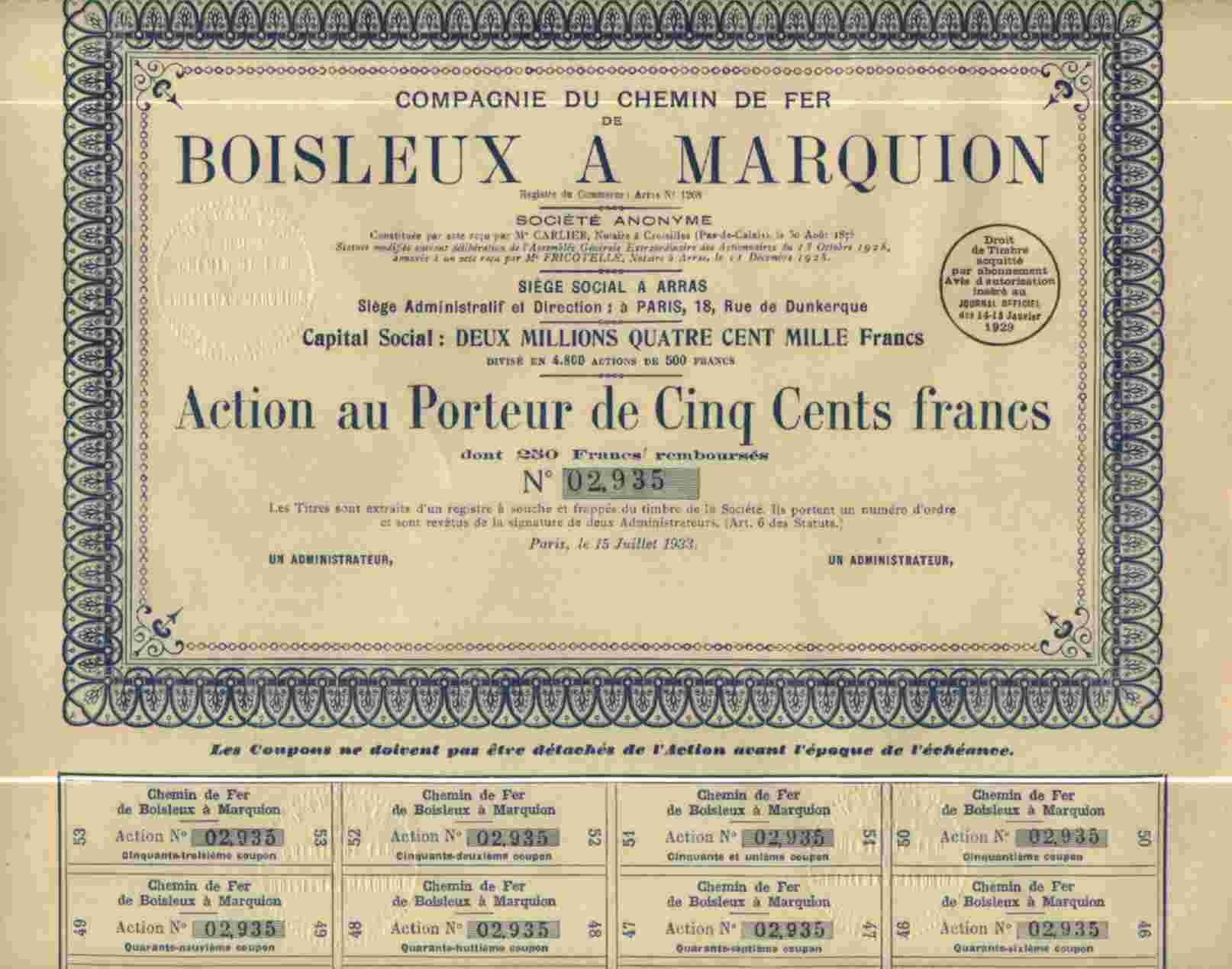 CIE DU CHEMIN DE FER DE BOISLEUX A MARQUION - Chemin De Fer & Tramway