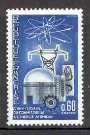 TIMBRE MNH FRANCE 20 ANNIVERSAIRE DU COMMISSIARAT  A L' ENERGIE ETOMIQUE ÉLECTRICITÉ CENTRALE - Atomo