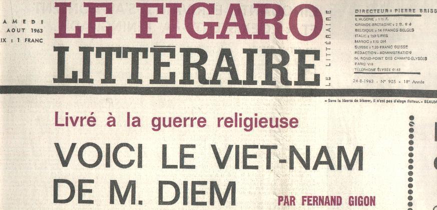 Figaro Littéraire 905 24/8/1963 Diem Meredith Margerit Achard Meaulnes Steinbeck Dieppe Lichnerowicz Wesker Pagnol - Livres, BD, Revues