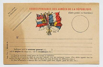 FRANCHISE MILITAIRE : Carte Avec Drapeaux - Marcophilie (Lettres)