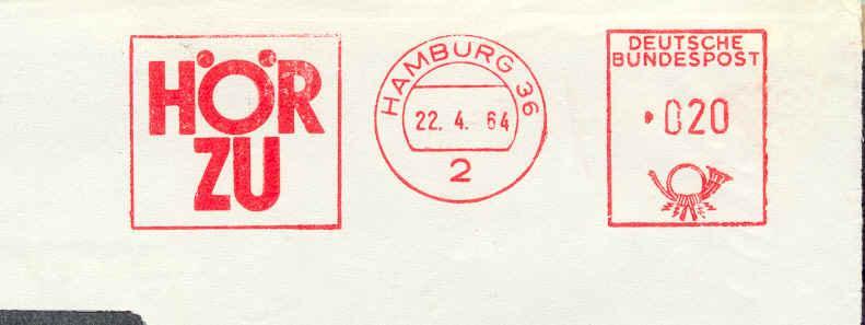 """Flamme/postmark Slogan """"HOR ZU"""" (Familienzeitschrift) 22/04/1964 Periodical  Magazine  Newspaper - Schrijvers"""