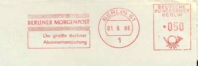 """Flamme/postmark Slogan """"Berliner Morgenpost....""""01/09/1966  Paper/magazine - Schrijvers"""