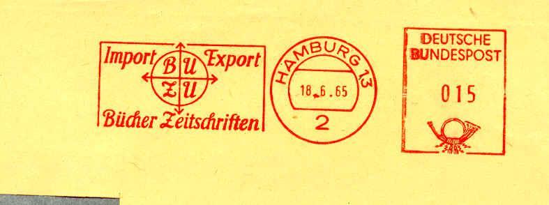 """Flamme/postmark Slogan """"BUZU, Import, Export, Bucher Zeitschriften"""" 18/06/1965   Book  Magazine Paper - Schrijvers"""