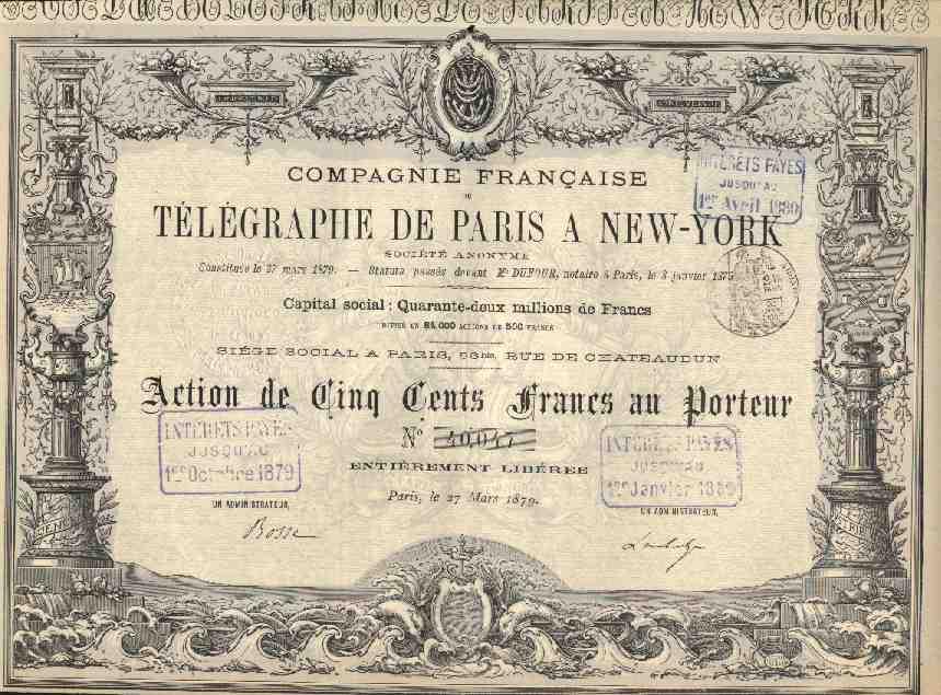 TOP DECO : COMPAGNIE FRANCAISE DU TELEGRAPHE DE PARIS A NEW YORK - Aandelen