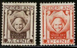 Ned 1924 Childseries 2 Values Mint Hinged  142-143 #45 - Period 1891-1948 (Wilhelmina)