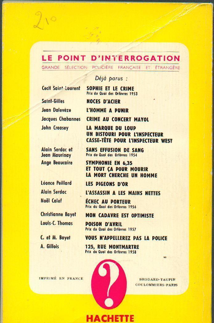"""JEAN MARCILLAC  """"ON NE TUE PAS POUR S´AMUSER"""" LE POINT D´INTERROGATION-HACHETTE DE 1959 - Hachette - Point D'Interrogation"""