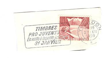 Suisse  YT 485 Obl  Cachet Yverdon 1959 Flamme Timbres Ppro Juventute ... - Suisse