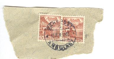 Suisse  YT 291 Obl  2 Timbres Cachet BahnPost 1939 Ambulant - Suisse