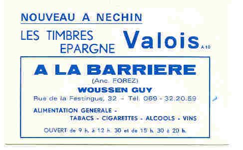 Nechin - Carte Publictaire Du Magasin A La Barriere - Publicite Timbes Valois - Estaimpuis