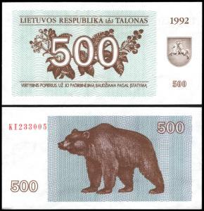 Lithuania #44, 500 (Talonas), 1992, UNC - Lituanie