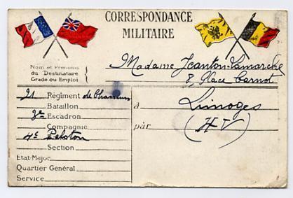 Carte En Franchise 1914 Drapeaux Ayant Circulée - Marcofilia (sobres)