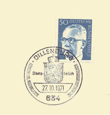 Postmark Slogan/flamme: Queen And Prince Of The Netherland Visit Dillenburg - Koniklijke Families