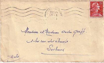 LETTRE DE VESOUL HAUTE SAONE DATEE DU 13/01/1958 AVEC OBLITERATION MECANIQUE - Poststempel (Briefe)