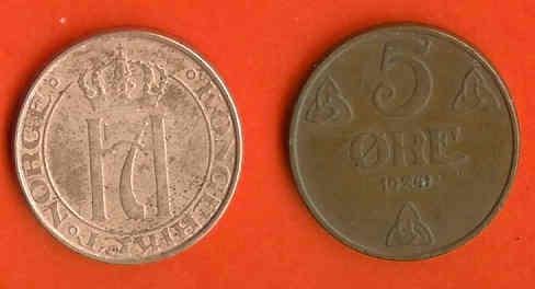 NORWAY 1940-41 5 Ore Bronze KM 368 C349 - Norway