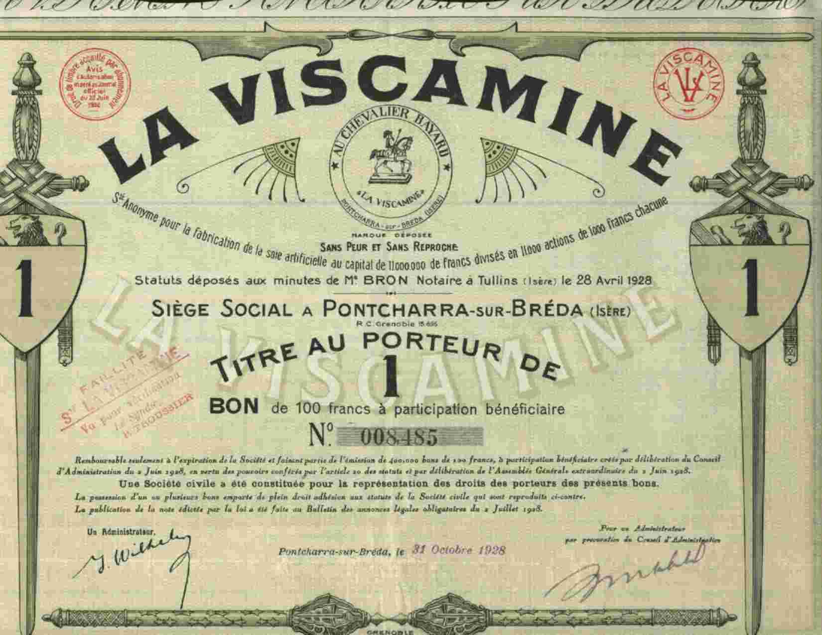 DECO : LA VISCAMINE  * AU CHEVALIER BAYARD * 1 (ISERE) - Azioni & Titoli