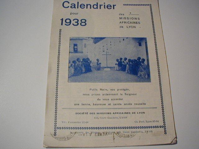 Calendrier Pour 1938 Des Missions Africaines De LYON - Kalenders