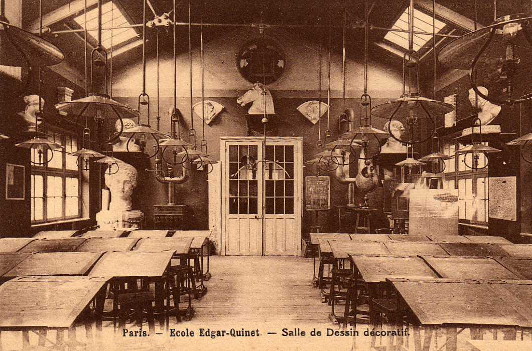 75 PARIS IX Ecole Edgar Quinet, Lycée Professionel, Salle De Dessin Décoratif, Bustes De Pierre 193? - Arrondissement: 09