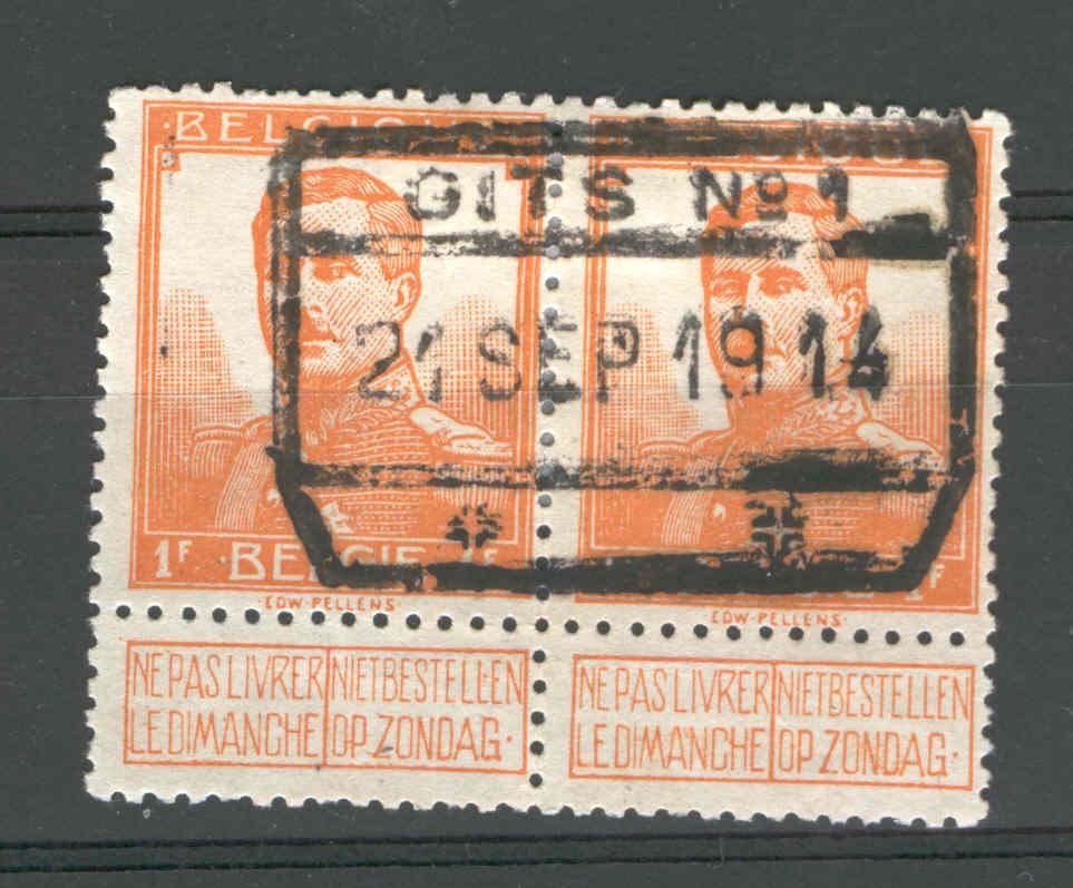 Timbres Pellens Paire 1 F Cachet Chemin De Fer GITS 21 Sep 1914 - 2è Mois De Guerre  --  3/118 - WW I