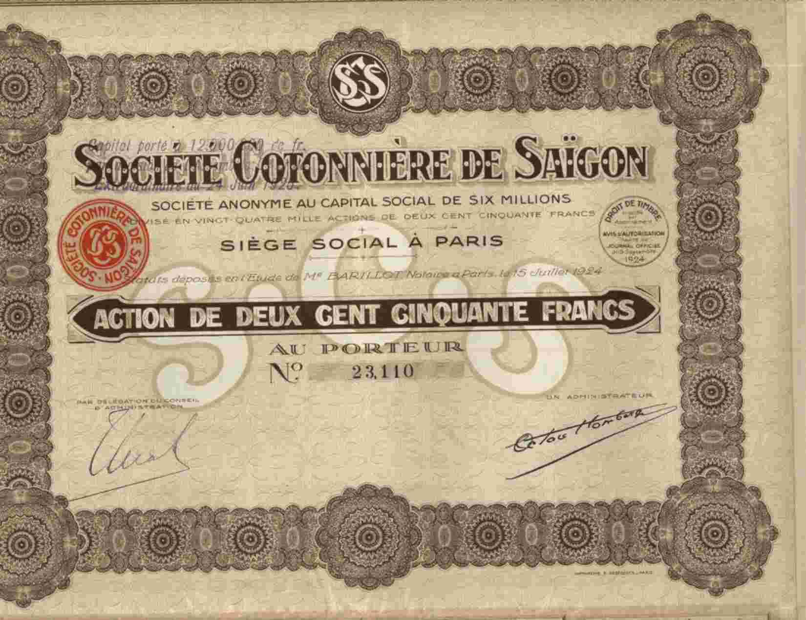 STE COTONNIERE DE SAIGON - Asie