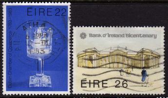 Ireland, Scott # 557-8 Used  Set Bank Of Ireland, 1983 - Ireland