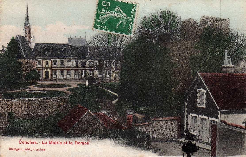 27 CONCHES Mairie Et Le Donjon, Colorisée, Ed Diologent, 1912 - Conches-en-Ouche
