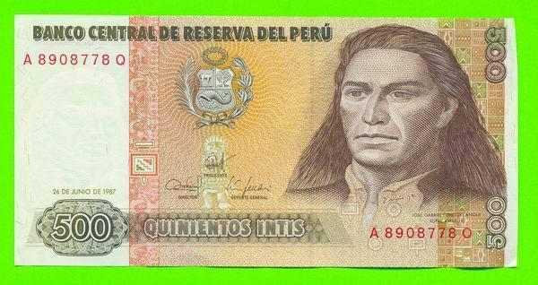 BILLET - BANCO CENTRAL DE RESERVA DEL PERU - 500 QUINIENTOS INTIS - CONDITION A1 - - Pérou