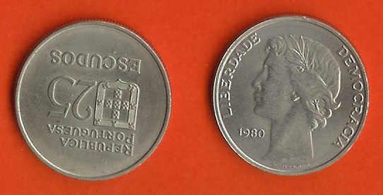 PORTUGAL 1980 25 Escudo Copper-nickel KM610 C632 - Portugal