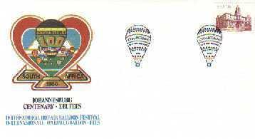 RSA 1986 Enveloppe Johannesburg 100 Years Balloon Mint # 1507 - Transport