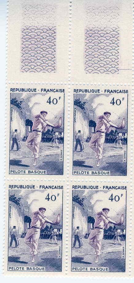 PELOTE BASQUE BLOC DE 4 FRANCE NEUFS EMIS EN 1956 COTE 28 EUROS - Timbres