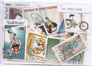 50 Timbres Sur Le Cyclisme Tous Différents, Grand Format, Beaucoup De Pays Représentés - Ciclismo