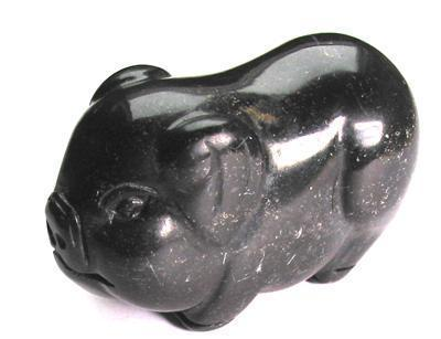 Petit Cochon Thaï Porte-bonheur En Obsidienne / Thai Lucky Obsidian Pig - Art Populaire