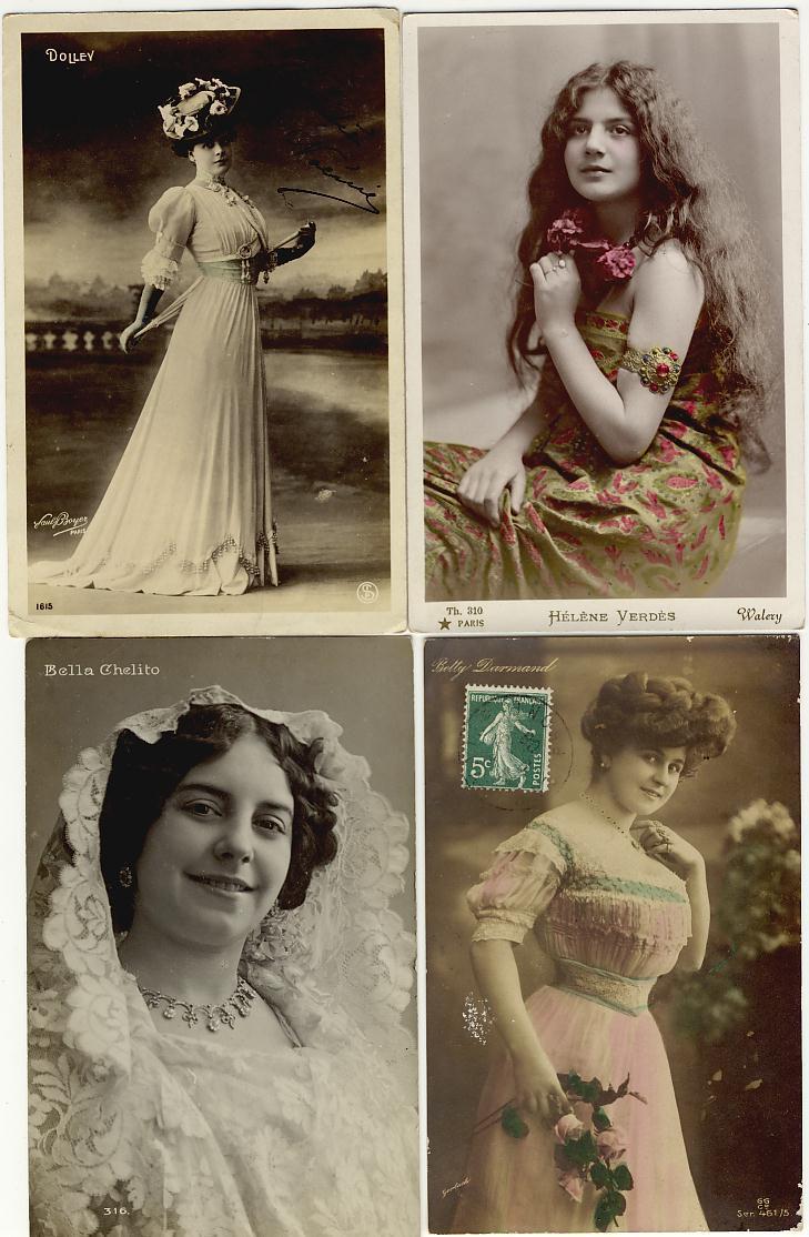 Lot De 4 Cpa Artistes Belle Epoque Verdes, Dolley,Darmand,Chelito Belles Toilettes - Artistes