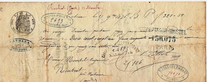 Lettre De Change De 1876 - Lettres De Change