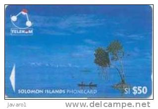 SOLOMON : SOL16 S1$50 Canoes In Sikaiana   USED - Solomon Islands