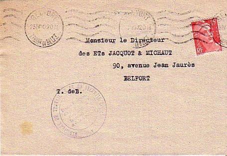 KRAG DE BELFORT POUR BELFORT DATEE DU 25/04/50 AVEC TIMBRE POSTE N° 813 - Poststempel (Briefe)