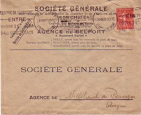 KRAG DE BELFORT POUR VILLEFRANCHE DE ROUERGUE DATEE DU 24/04/28 AVEC TIMBRE POSTE N° 199 - Poststempel (Briefe)