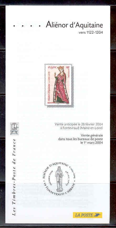 DOCUMENT EMISSION TIMBRE - ALIENOR D' AQUITAINE FONTEVRAUD L' ABBAYE - Documentos Del Correo