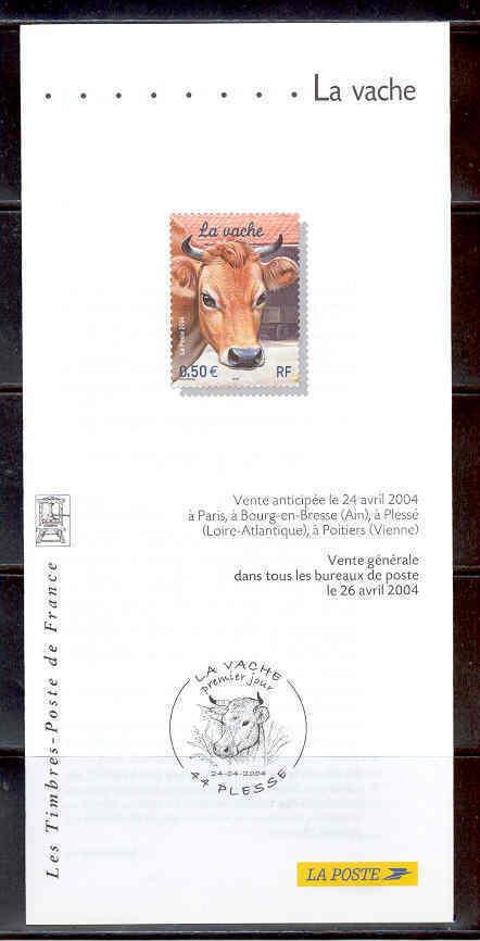 DOCUMENT EMISSION TIMBRE - RUMINANTS BOVIDES LA VACHE - Documentos Del Correo
