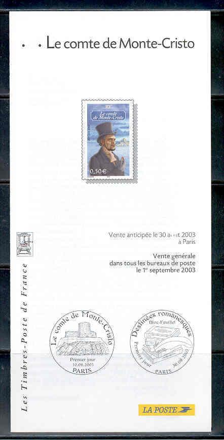 DOCUMENT EMISSION TIMBRE - ECRIT LE COMTE DE MONTE CRISTO  DESTINEES ROMANESQUES - ALEXANDRE DUMAS - Documentos Del Correo