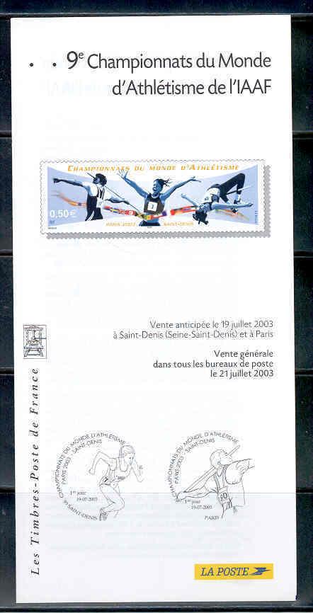 DOCUMENT EMISSION TIMBRE - CHAMPIONNATS DU MONDE D' ATHLETISME DE L' IAAF SAINT DENIS - Documentos Del Correo