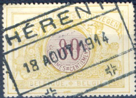 Xj796: SP 39 : Gestempeld: HERENT : 18 AOUT 1914 ( Oorlog 1914 !!!) ...Herent Bezet Op 19.VIII.1914 - WW I